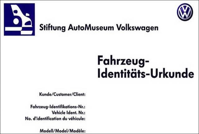 Le certificat de naissance des VW